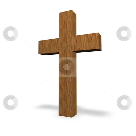Cross stock photo, Wooden cross on a white background by J?