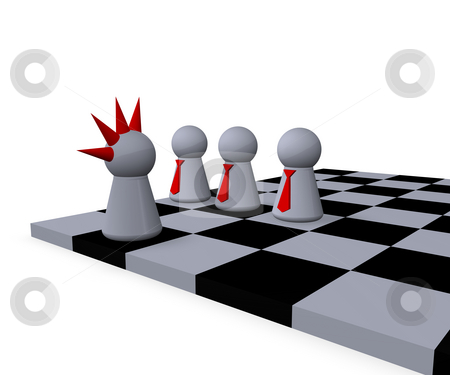 The other stock photo, Play figures businessmen and punk on a chessboard by J?