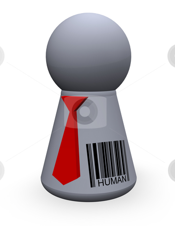 Barcode human stock photo, Play figure with red tie and barcode by J?