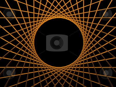 Focus stock photo, Background illustration - golden net on black background with round hole by J?