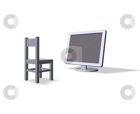 Education stock photo, Chair and a computer monitor by J?