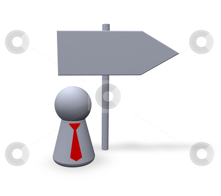 Direction stock photo, Direction sign and play figure with red tie by J?