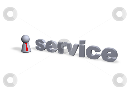 Service stock photo, Srvice text in 3d and play figure with red tie by J?