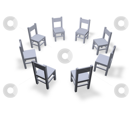Meeting stock photo, 8 chairs are located in the circle by J?