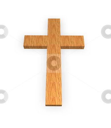 Holy cross stock photo, Wooden cross on a white background by J?