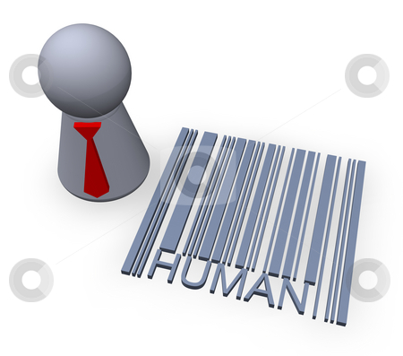 Barcode human stock photo, Play figure with red tie and 3d barcode human by J?