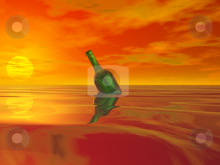 Message in a bottle stock photo, Green bottle in the ocean and colorful sky by J?