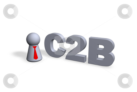 C2B stock photo, C2B text in 3d and play figure with red tie by J?