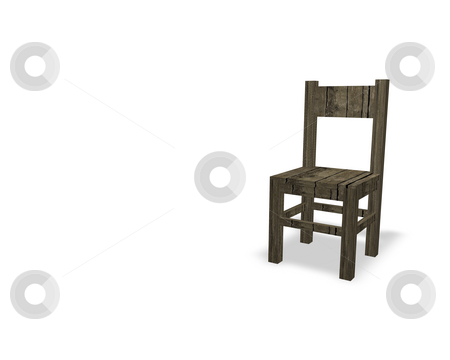 Old chair stock photo, Old wooden chair on white background by J?