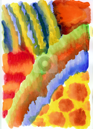 Colors stock photo, Multicolored painted background in red, yellow, blue and green by J?