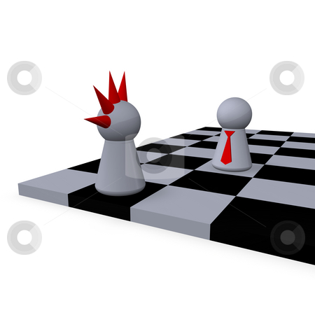 Strategy stock photo, Play figures punk and businessman on a chessboard by J?