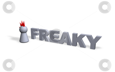 Freaky stock photo, Freaky text in 3d and play figure with red hair by J?