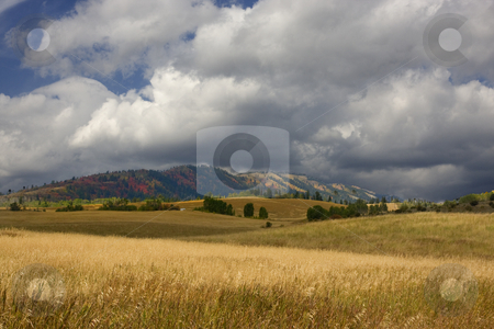 Farm  stock photo, Storm on a high mountain farm in the fall by Mark Smith