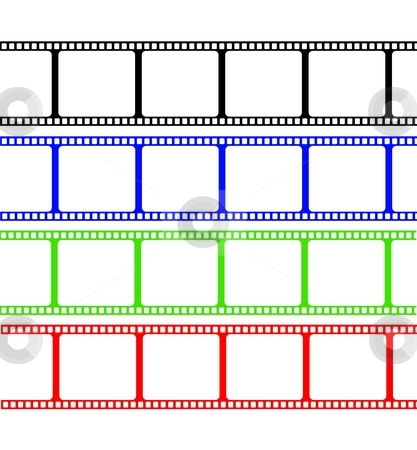 Film Stripe Colors stock photo, Film stripe in 4 different colors isolated on a white by Henrik Lehnerer