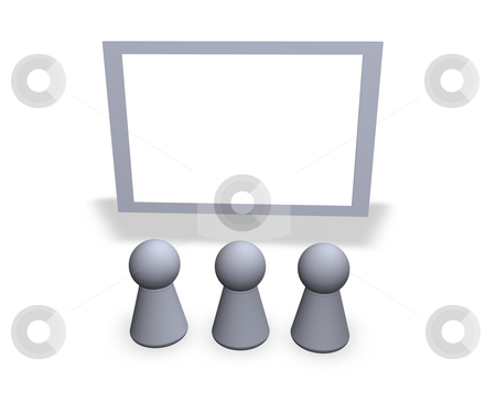 Watch stock photo, Play figures and a blank sign by J?