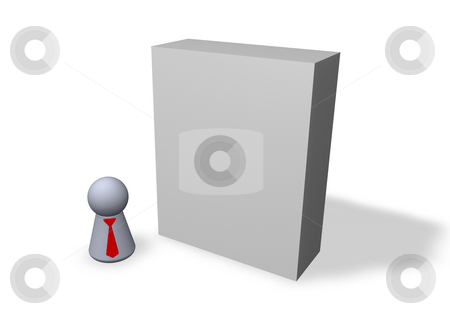 Software packing stock photo, Play figure with red tie and blank packing by J?