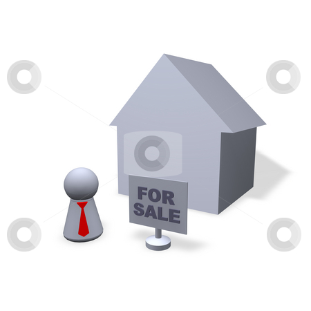 For sale stock photo, Play figure broker with red tie, a house and for sale sign by J?