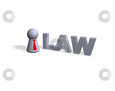 Law stock photo, Law text in 3d and play figure with red tie by J?