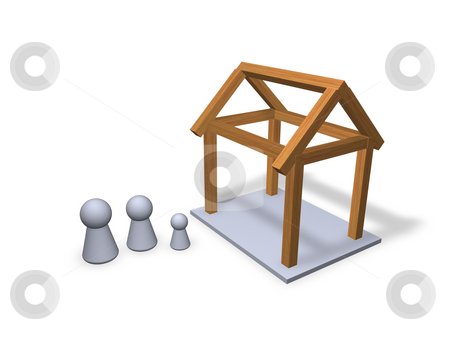 New build stock photo, Play figures family and their new house by J?