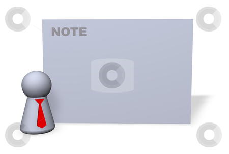 Note stock photo, Play figure with red tie and sign for notes by J?