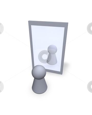 Mirror stock photo, Play figure  see itself at a mirror by J?