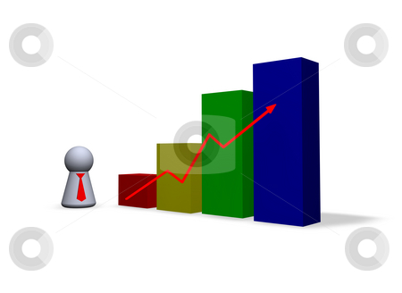 Statistics stock photo, Statistics diagram and play figure with red tie by J?