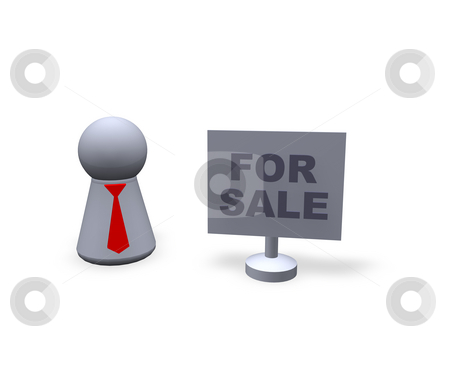 For sale stock photo, Play figure with red tie and sign with for sale text by J?