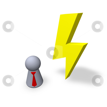 Flash stock photo, Yellow flash and play figure with red tie by J?