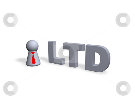 Ltd stock photo, Play figure with red tie and ltd text in 3d by J?