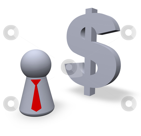 Dollar stock photo, Dollar symbol in 3d and play figure with red tie by J?