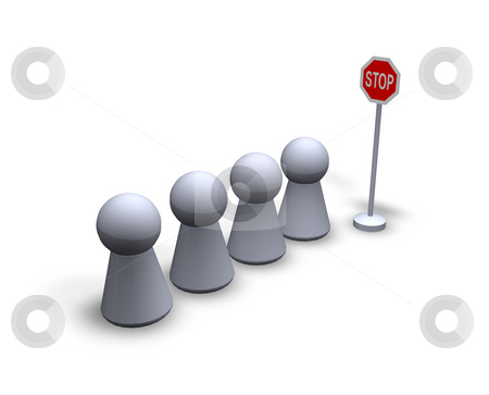 Stop stock photo, Stop sign and waiting play figures by J?
