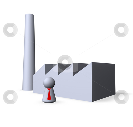 Factory stock photo, Play figure with red tie and factory buildings by J?