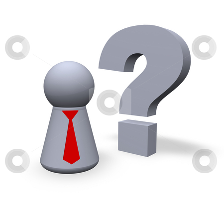 Question stock photo, Play figure with red tie and question mark in 3d by J?