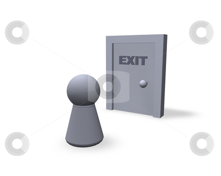 Exit stock photo, Play figure and door with exit text by J?