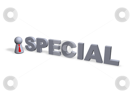 Special stock photo, Special text in3d and play figure with red tie by J?