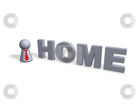 Home stock photo, Home text in 3d and play figure with red tie by J?