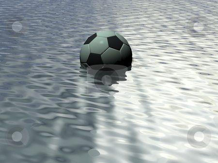 Soccer stock photo, Soccer ball in water by J?