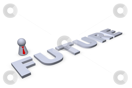 Future stock photo, Future text in 3d and play figure with red tie by J?
