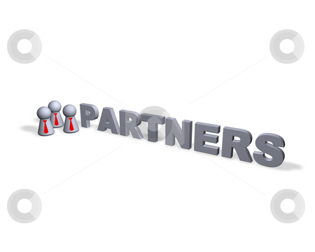 Partners stock photo, Partners text in 3d and play figures with red tie by J?