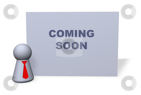 Coming soon stock photo, Play figure with red tie and sign with coming soon text by J?