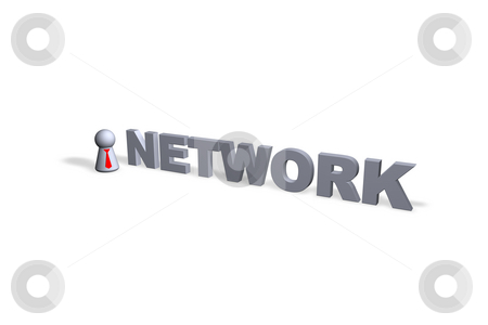 Network stock photo, Network text in 3d and play figure with red tie by J?