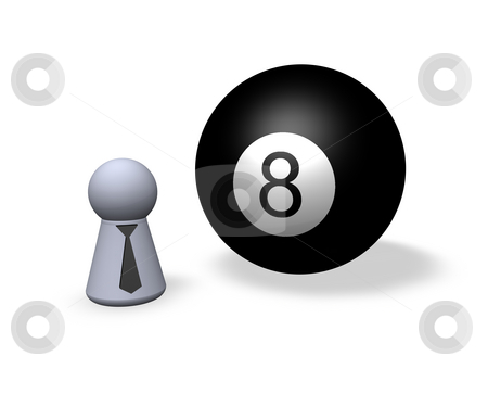 Billiard stock photo, Billiard ball eight and play figure with black tie by J?