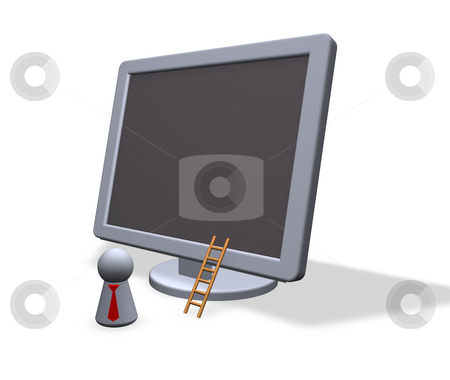 Direct marketing stock photo, Play figure with red tie and tft-monitor by J?