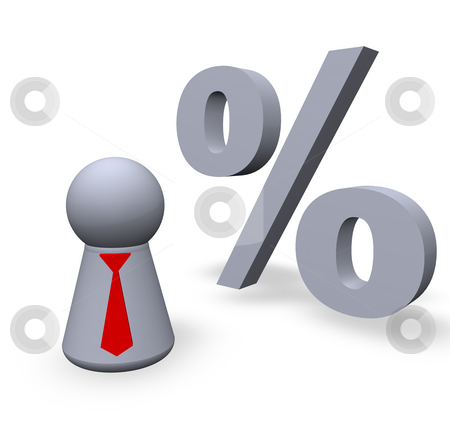100 percent stock photo, Per cent symbol and play figure with red tie by J?