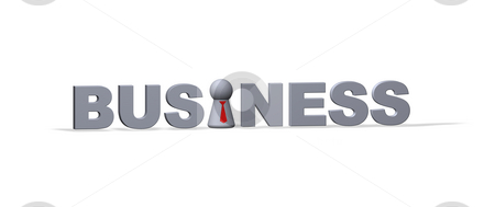 Business stock photo, Business text in 3d and play figure with red tie by J?