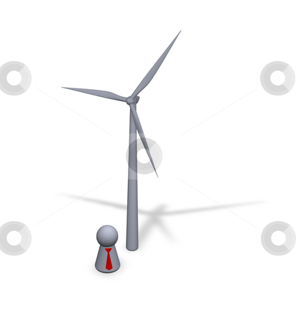 Windpower stock photo, Wind turbine and play figure with red tie by J?