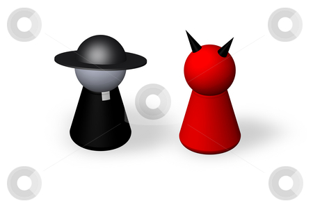 Religion stock photo, Play figures holy man and devil by J?