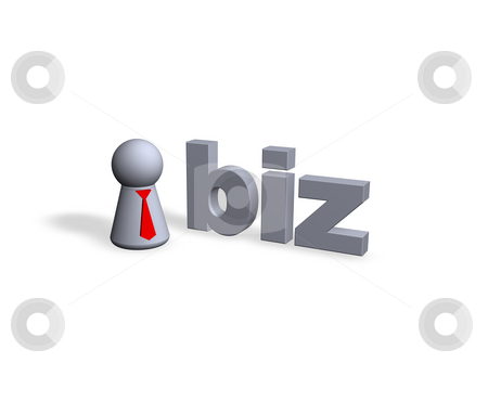 Biz domain stock photo, Biz text in 3d and play figure with red tie by J?