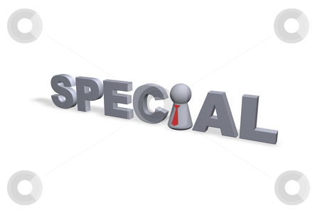 Special stock photo, Special text and play figure with red tie by J?
