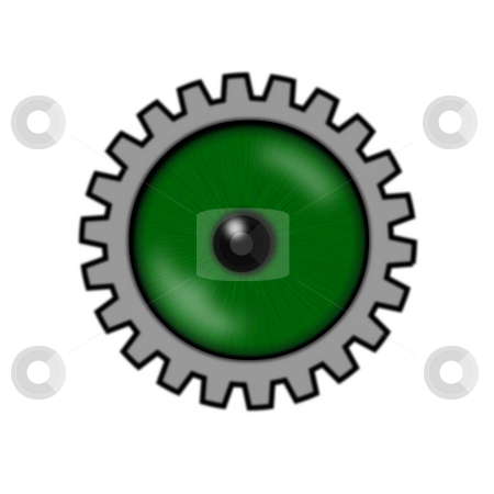 Gear eye stock photo, Green eyeball with gear wheel by J?